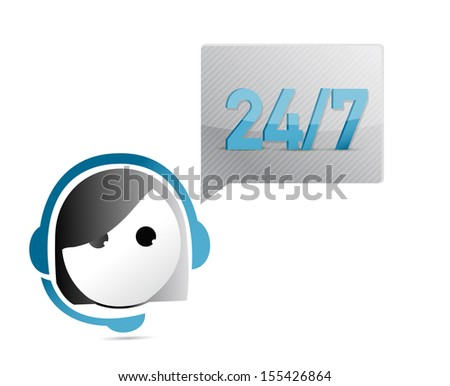 24 7 customer support illustration design over a white background - stock photo
