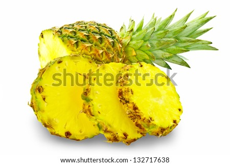 """Cut the pineapple isolated on a white background"""