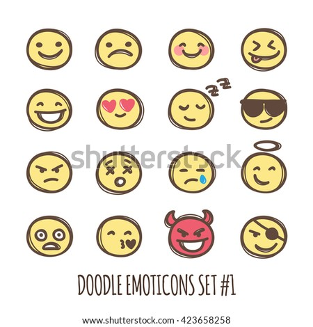 cute doodle style emoticons set. Black and white emoji collection. Emotion icons.