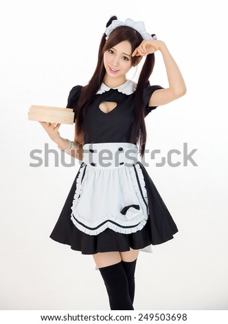 cute girl maid in gray background japanese style - stock photo