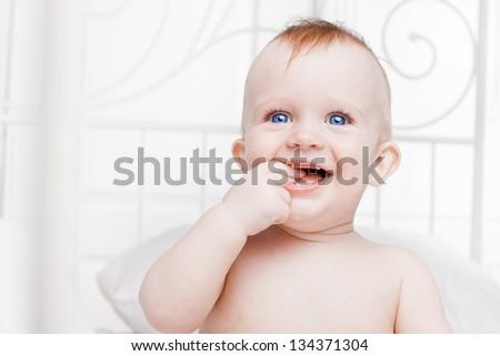 cute little boy having fun - stock photo