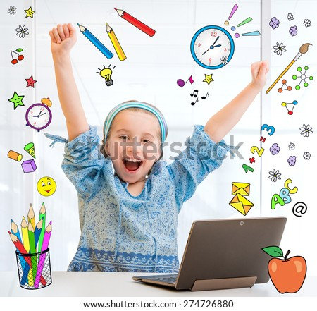 cute little schoolgirl with a laptop on the background of flying stationery - stock photo
