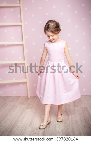 cute smiling little girl in princess dress  - stock photo