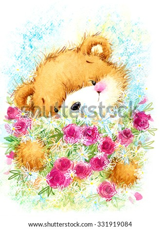 cute toy teddy bear and Birthday card background. watercolor illustration - stock photo