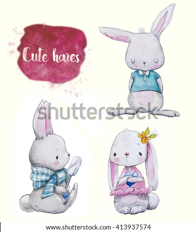 3 cute watercolor little hares with clothes - stock photo