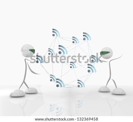 cyber wifi  network with two modern robots - stock photo