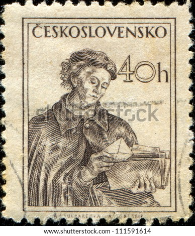 CZECHOSLOVAKIA - CIRCA 1954: A stamp printed in Czechoslovakia shows woman with letter in the hands, circa 1954