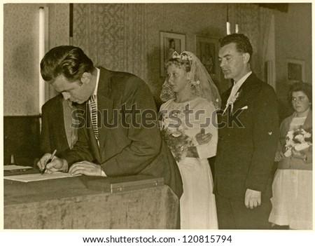 CZECHOSLOVAKIA, CIRCA 1950 - Wedding day - Circa 1950 - stock photo