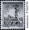 Czechoslovakia - CURCA 1962: A postage stamp was printed in Czechoslovakia, is devoted 100 years of union of doctors Prague shows the symbol of medicine - the snake in the background of the city - stock photo