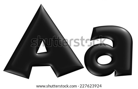 3D A alphabet with small later in black on isolated white background. - stock photo