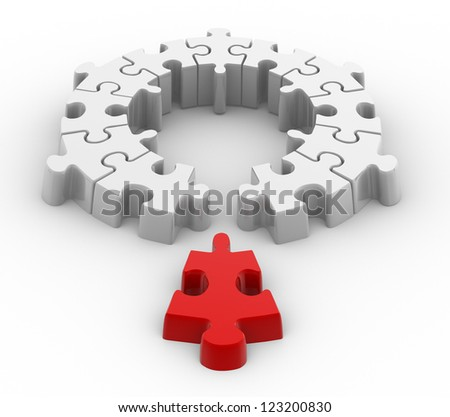 3d a last jigsaw piece for puzzle. Innovation concept. - stock photo