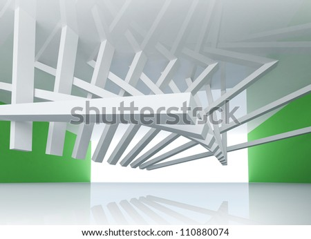 3d abstract architecture background. Room Interior with tilted beams ceiling installation and glowing end