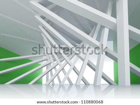 3d abstract architecture background. Room Interior with tilted columns and glowing end - stock photo