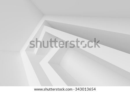 3d Abstract Architecture Design. White Modern Background - stock photo