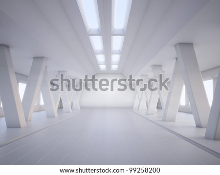 3D abstract architecture white interior - stock photo