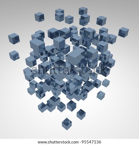 3d abstract background cubes explosion on bright - stock photo