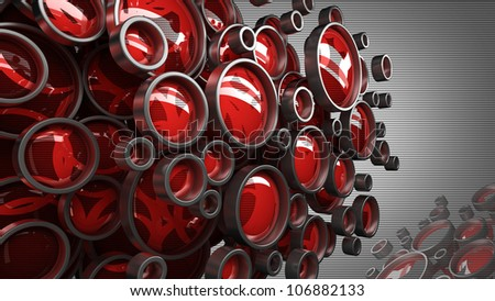 3D abstract background for company presentation red