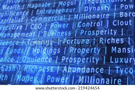 3D abstract background of 1000 dollars bills stacked with random words - stock photo