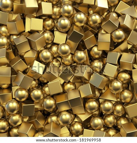 3d abstract background with gold balls and cubes, mixed golden primitive objects - stock photo