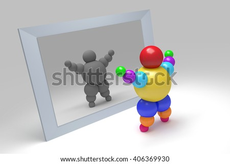 """3D abstract  """"Ballman""""  character  before the mirror - stock photo"""