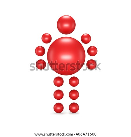3D abstract  Ballman character  on a white background - stock photo