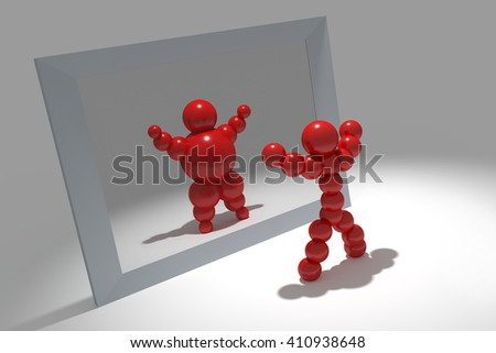 """3D abstract  """"Ballman""""  characters  before the mirror - stock photo"""