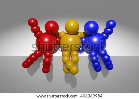 "3D abstract  ""Ballman"" multicolored characters  on a grey background"