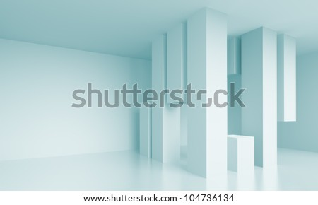 3d Abstract Blue Interior Design