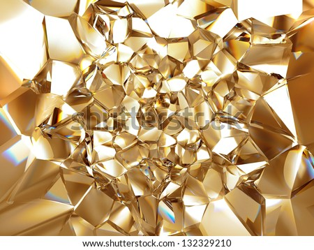 3d abstract crystal gold background texture