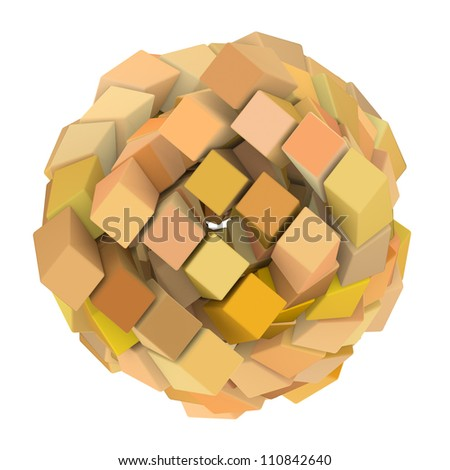 3d abstract cube ball shape in orange yellow on white - stock photo