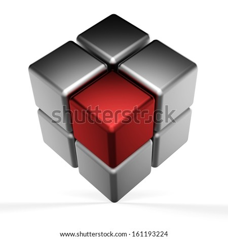 3d abstract cubes on white background. - stock photo