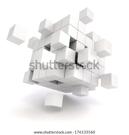 3d abstract cubes on white background - stock photo
