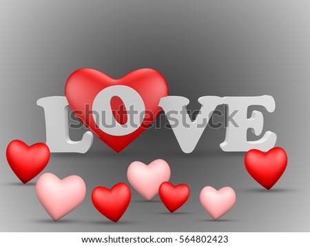 D Abstract Design On The Word Love With Hearts For A Romantic Event Like Valentines Day