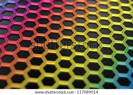 3d abstract design with colorful hexagons on black background - stock photo