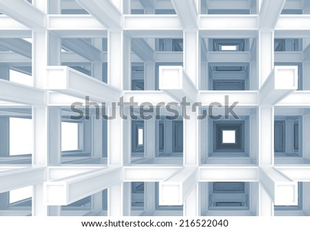 3d abstract digital background, blue braced construction perspective - stock photo