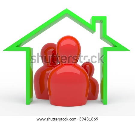 3d Abstract family in green house - stock photo