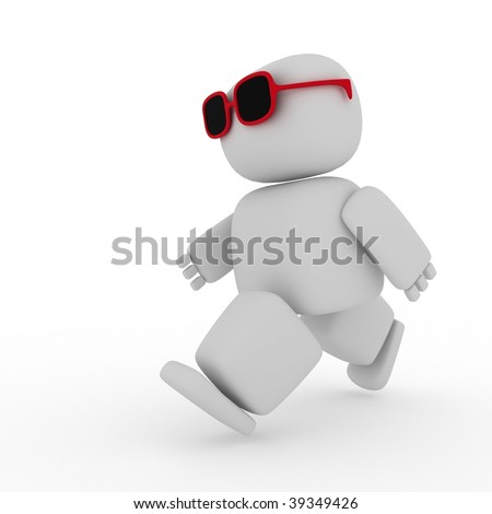 3d abstract figure with glasses running