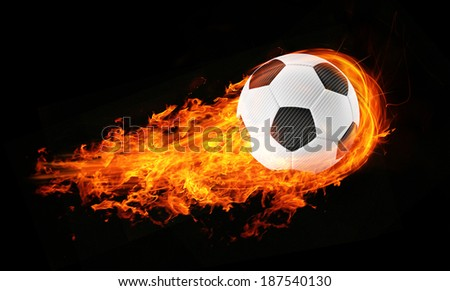 3d abstract flamed football soccer fireball black background - stock photo
