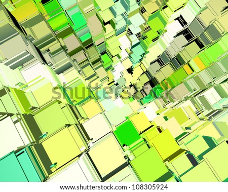 3d abstract fragmented cube pattern green yellow backdrop - stock photo