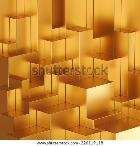 3d abstract geometric background, gold blocks - stock photo