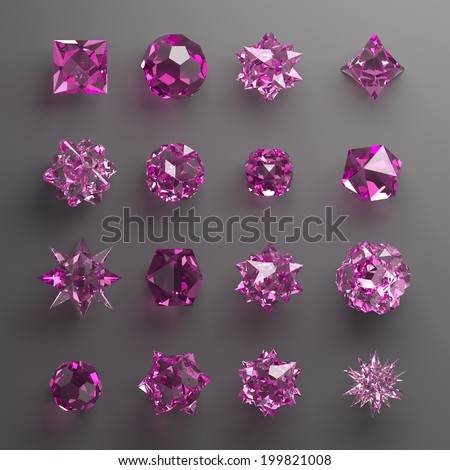 3d abstract geometrical shapes, pink glass beads, crystals, gems and jewels