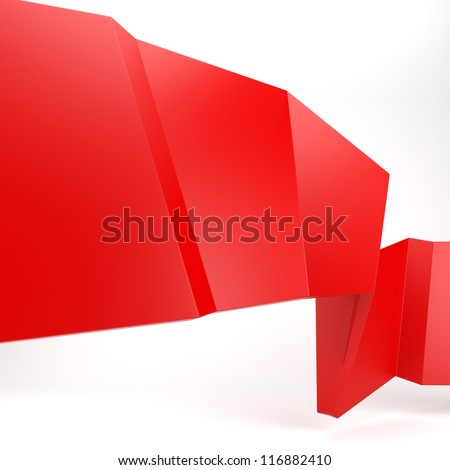 3d abstract glossy red origami speech bubble