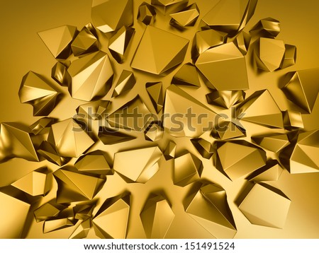 3d abstract gold crystal background