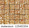 3d abstract graffiti spray tag font number backdrop on orange - stock photo