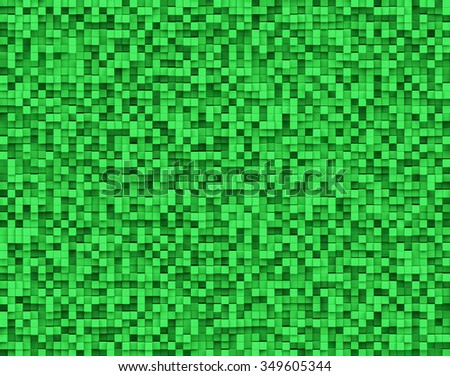 3D Abstract Green color Background volumetric pixel, Bas relief background - stock photo