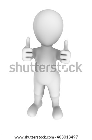 3d abstract human shows double thumbs up gesture