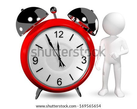 3d abstract illustration of man with an alarm clock