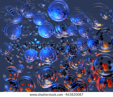 3D Abstract Illustration which is observed several luminous spheres with reflections