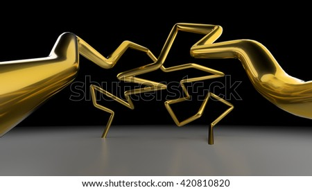 3D abstract lines illustration on a gray background - stock photo