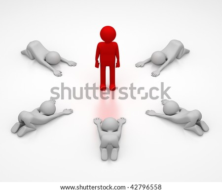 3D abstract of a person in red surrounded by a ring of 5 persons bowing down in respect. - stock photo